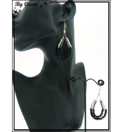 Boucles d'oreilles - Gouttes - Perles - Argent / Noir