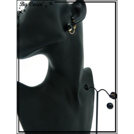 Boucles d'oreilles - Asymétrique - Noir / Doré