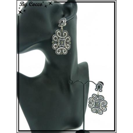 Boucles d'oreilles - Arabesques - Noir / Beige