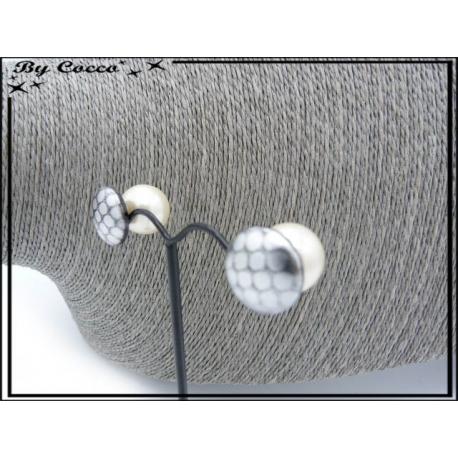 Boucles d'oreilles - Quadrillage - Blanc / Noir