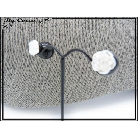 Boucles d'oreilles - Rose - Blanc / Noir
