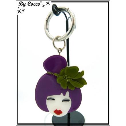 Bijoux de sac - Poupée geisha - Résine - Chignon - Violet