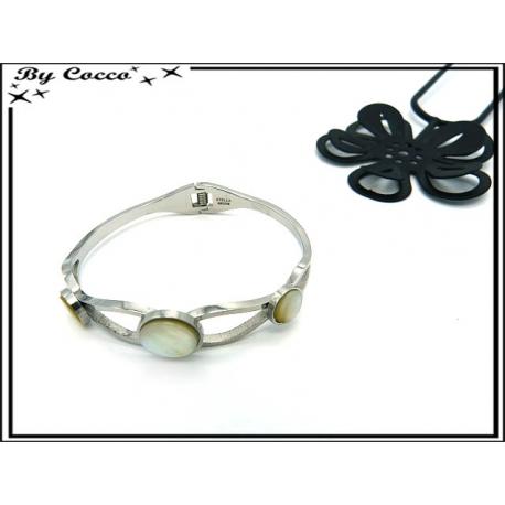 Bracelet Jonc - Trois perles - Nacrée