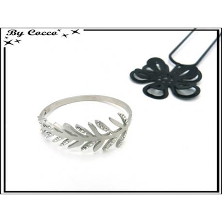 Bracelet Jonc - Feuille - Strass - Argent