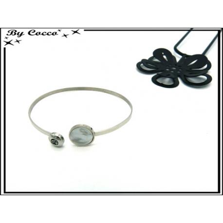 Bracelet Jonc - Petits ronds - Perle - Strass - Argent
