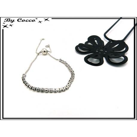 Bracelet Jonc - Petits carrés - Strass - Argent / Noir