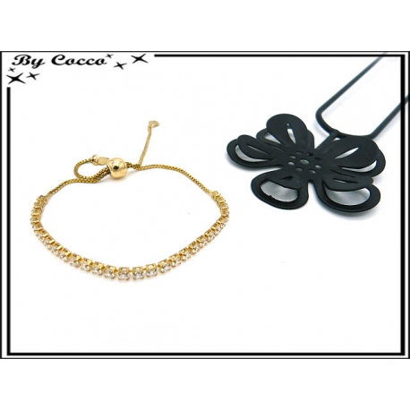 Bracelet Jonc - Petits carrés - Strass - Doré