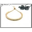 Bracelet Jonc - Petit strass - Doré