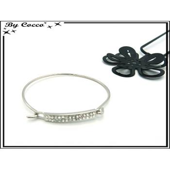 Bracelet Jonc - Petite plaque strass - Argent