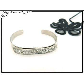 Bracelet Jonc - Plaque strass - Argent