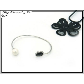 Bracelet Jonc - Perle blanche - Pierre noire