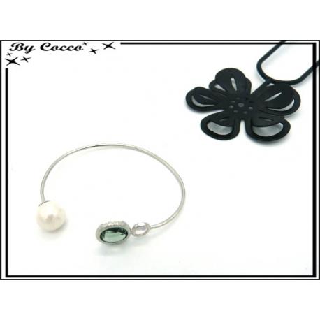Bracelet Jonc - Perle blanche - Pierre transparante