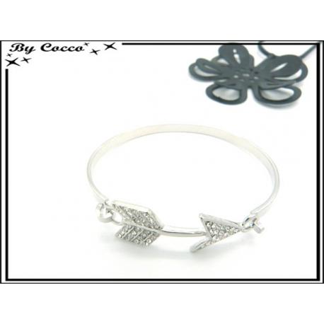 Bracelet Jonc - Flèche - Strass - Argent