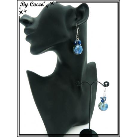 Boucles d'oreilles - Multi-perles - Bleu