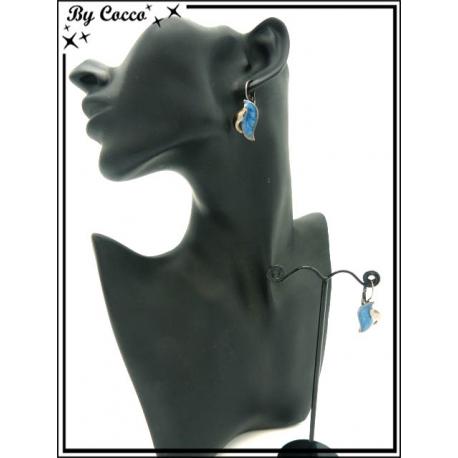 Boucles d'oreilles - Feuille - Bleu