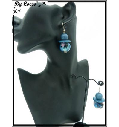 Boucles d'oreilles - 3 perles - Bleu