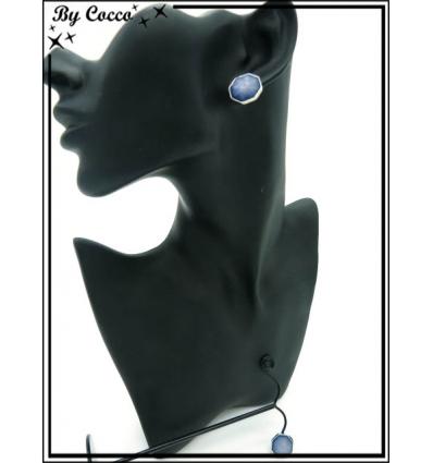 Boucles d'oreilles - Pierre dégradé bleu