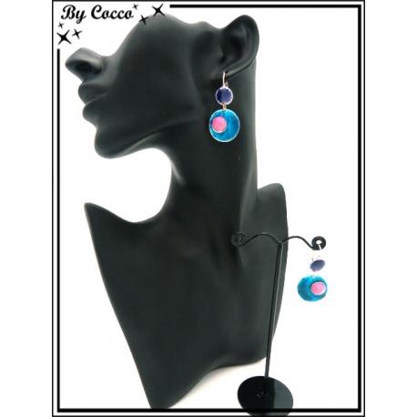 Boucles d'oreilles - Double ronds - Bleu / Rose