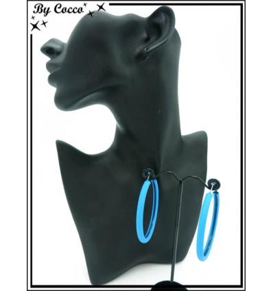 Boucles d'oreilles - Créoles fines - Bleu