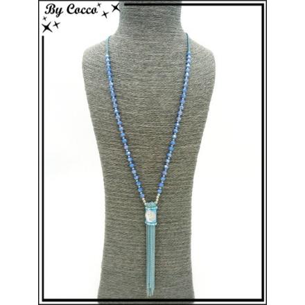 Sautoir - Chaînettes - Piece - Perles à facettes - Bleu ciel