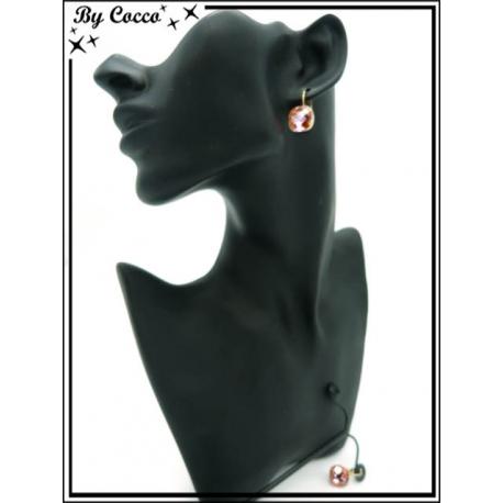 Boucles d'oreilles - Perle carrée - Ambre
