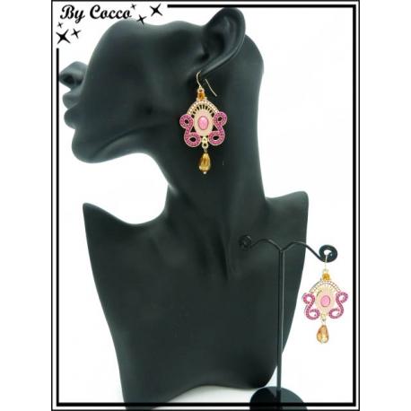 Boucles d'oreilles - Rose / Beige