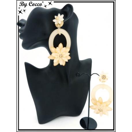Boucles d'oreilles - Résine - Double fleurs - Beige