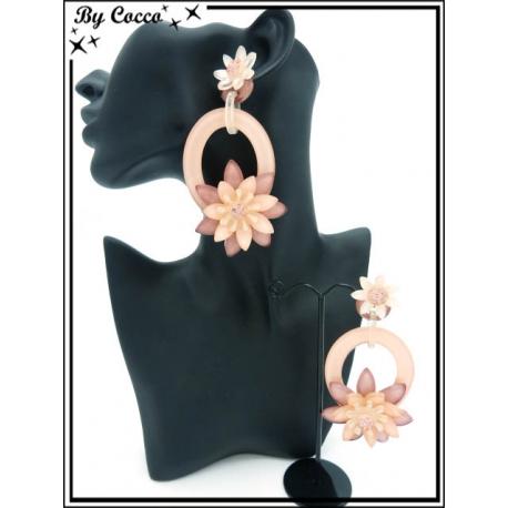 Boucles d'oreilles - Résine - Double fleurs - Rose pastel