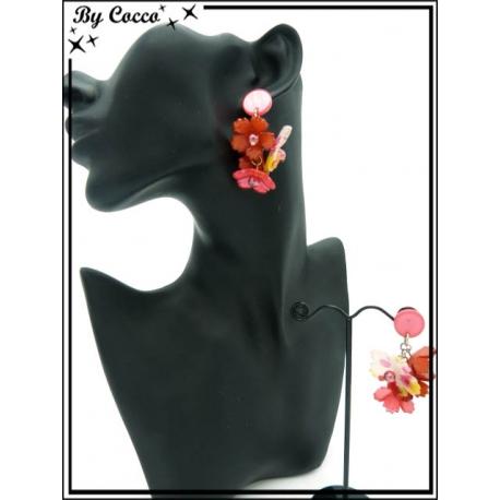 Boucles d'oreilles - Résine - Fleurs - Rose / Rouge / Jaune