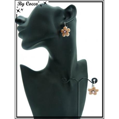 Boucles d'oreilles - Fleur - Beige
