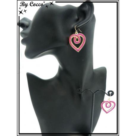 Boucles d'oreilles - Coeur - Fushia