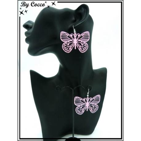 Boucles d'oreilles - Filigrane - Papillon - Rose