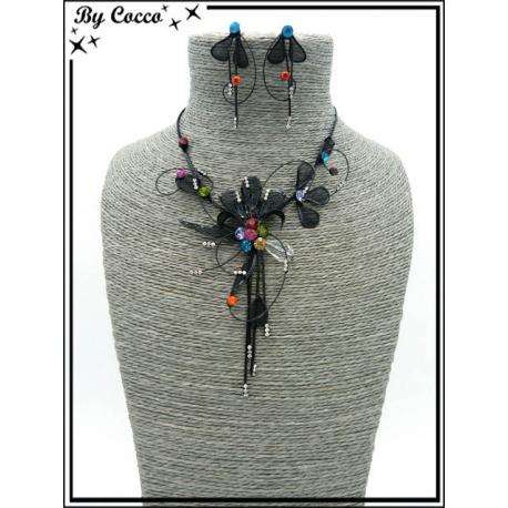 Parure - Strass - Fleur - Perles - Noir / Multicolor