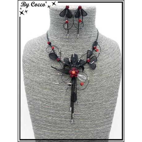 Parure - Strass - Fleur - Perles - Noir / Rouge