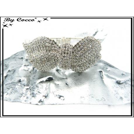 Bracelet rigide - Strass - Noeud - Argent