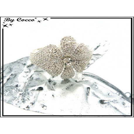 Bracelet rigide - Strass - Fleur - Argent