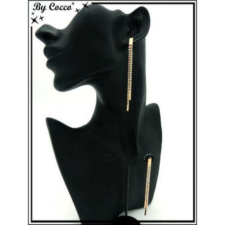 Boucles d'oreilles - Pendantes - Double rangs de strass - Doré