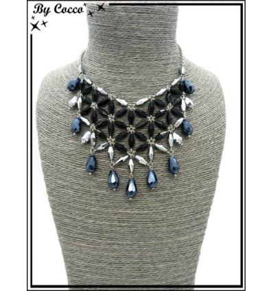 Collier - Fleurs - Perles - Argent / Noir / Bleu
