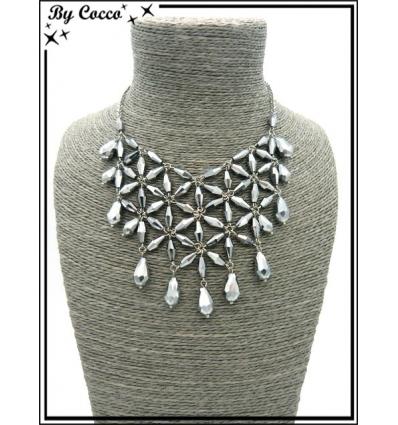 Collier - Fleurs - Perles - Argent