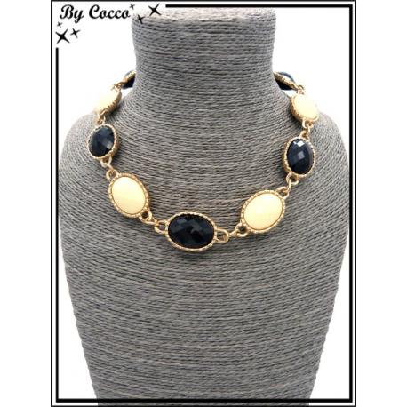 Collier - Perles à facettes - Beige / Noir
