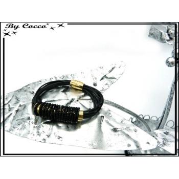 Bracelet - Tube perles enroulées - Noir / Doré