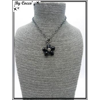 Collier - Fleur perles - Noir