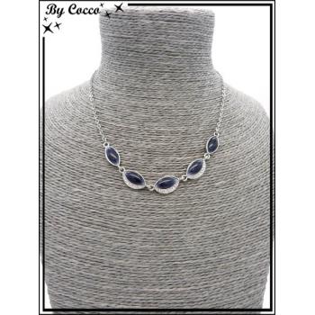 Collier - Perle Strass - Bleu / Argent