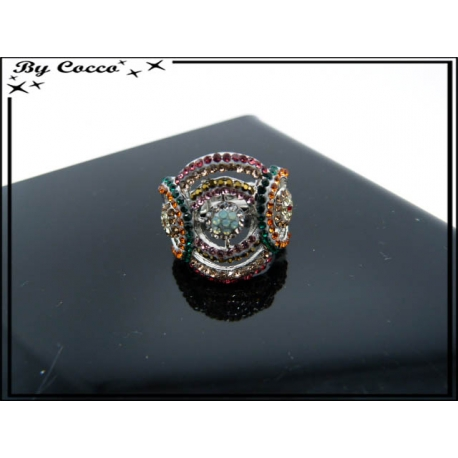 Bague - Elastique - Strass - Cercles - Multicolor - 3