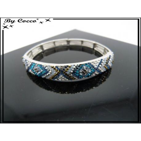 Bracelet - Elastique - Croix - Tons bleus