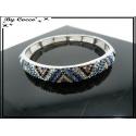 Bracelet - Elastique - Vagues - Tons bleus