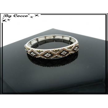 Bracelet - Elastique - Losanges - Couleurs métalisées
