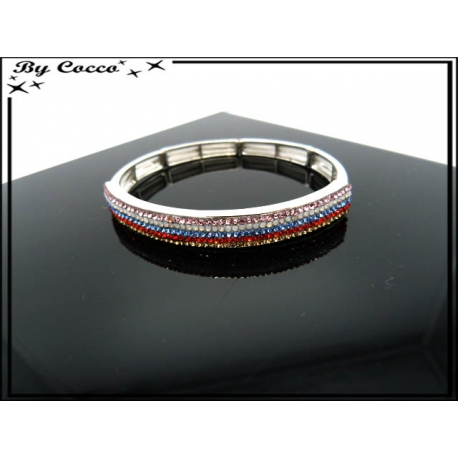 Bracelet - Elastique - Strass - Lignes multicolor