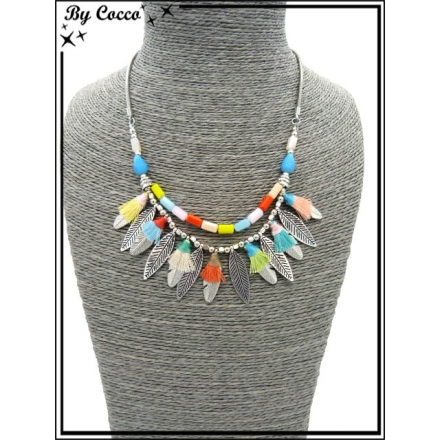 Collier - Plumes - Pompons - Multicolor