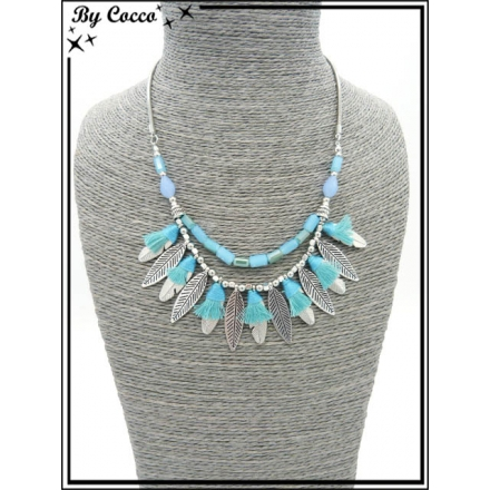Collier - Plumes - Pompons - Bleu / Turquoise
